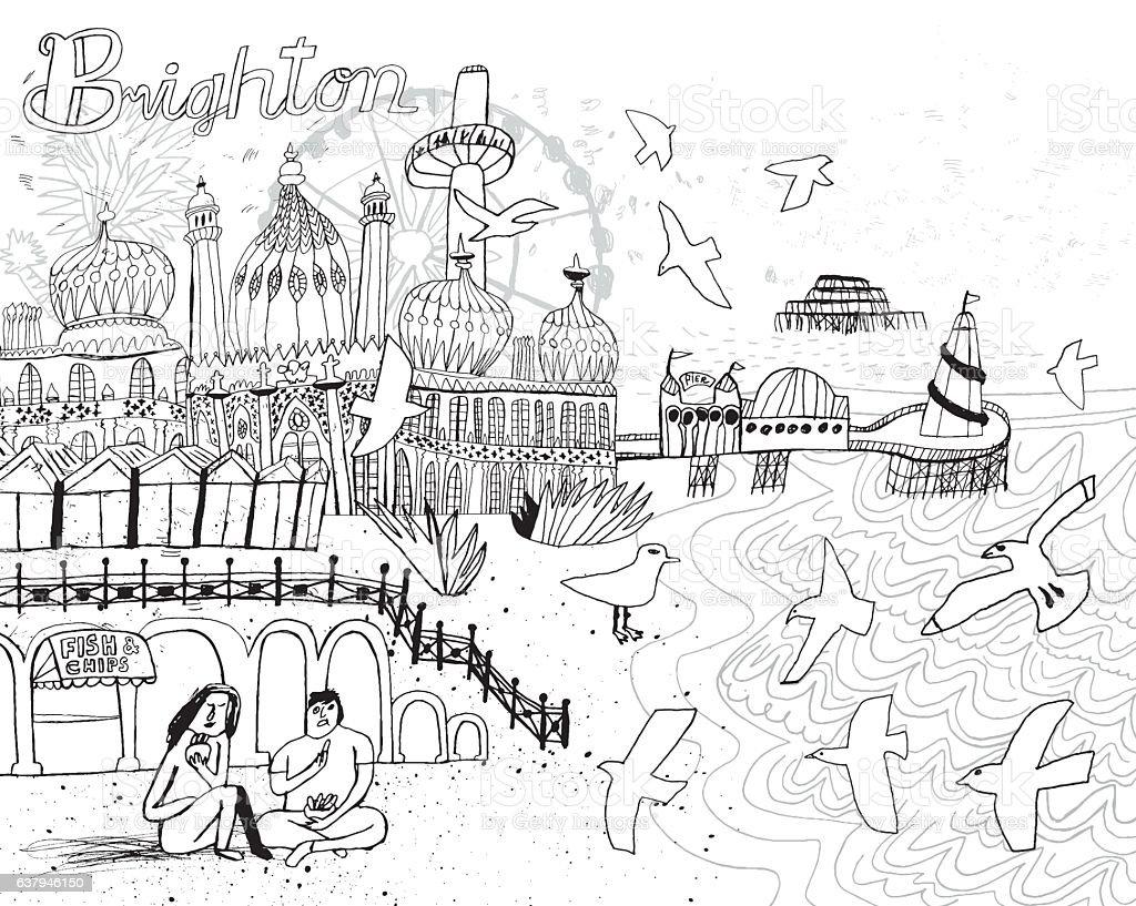 City of Brighton in England UK vector art illustration