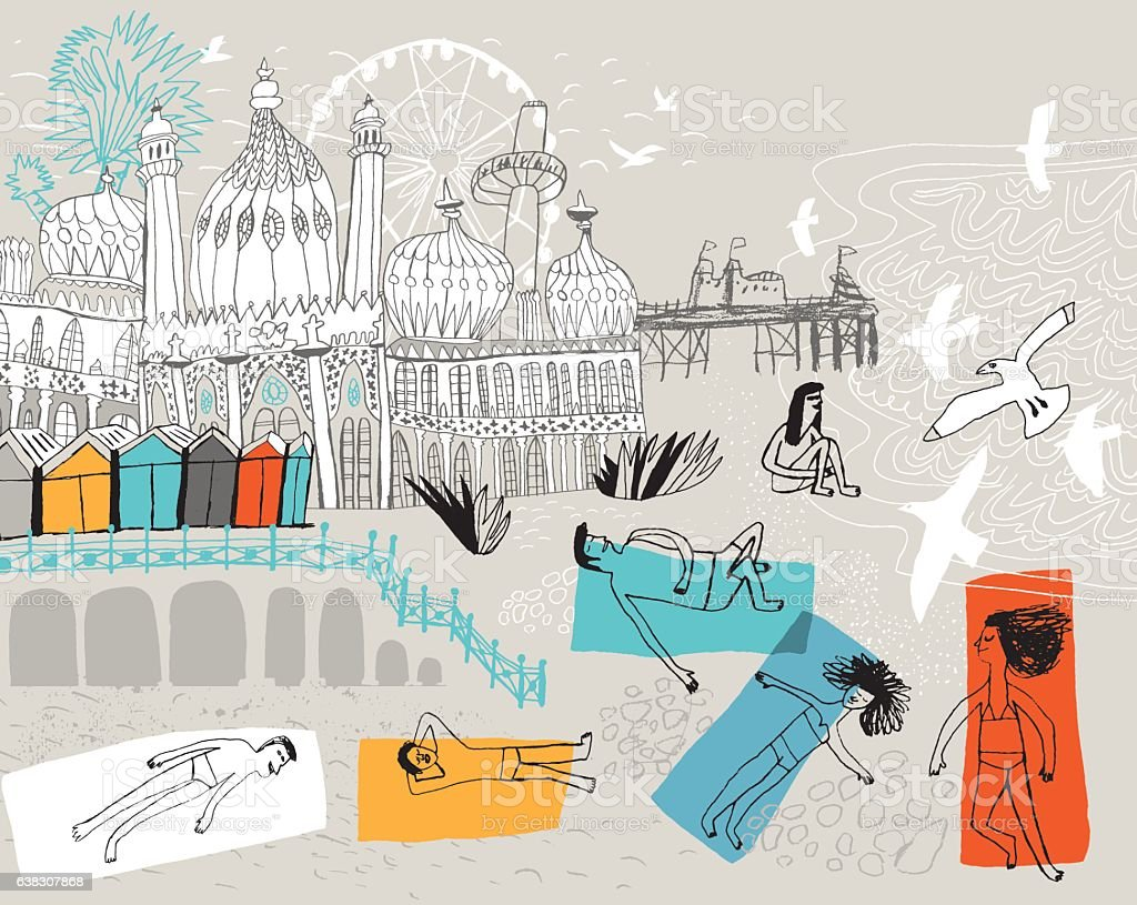 City of Brighton in England UK - ilustración de arte vectorial