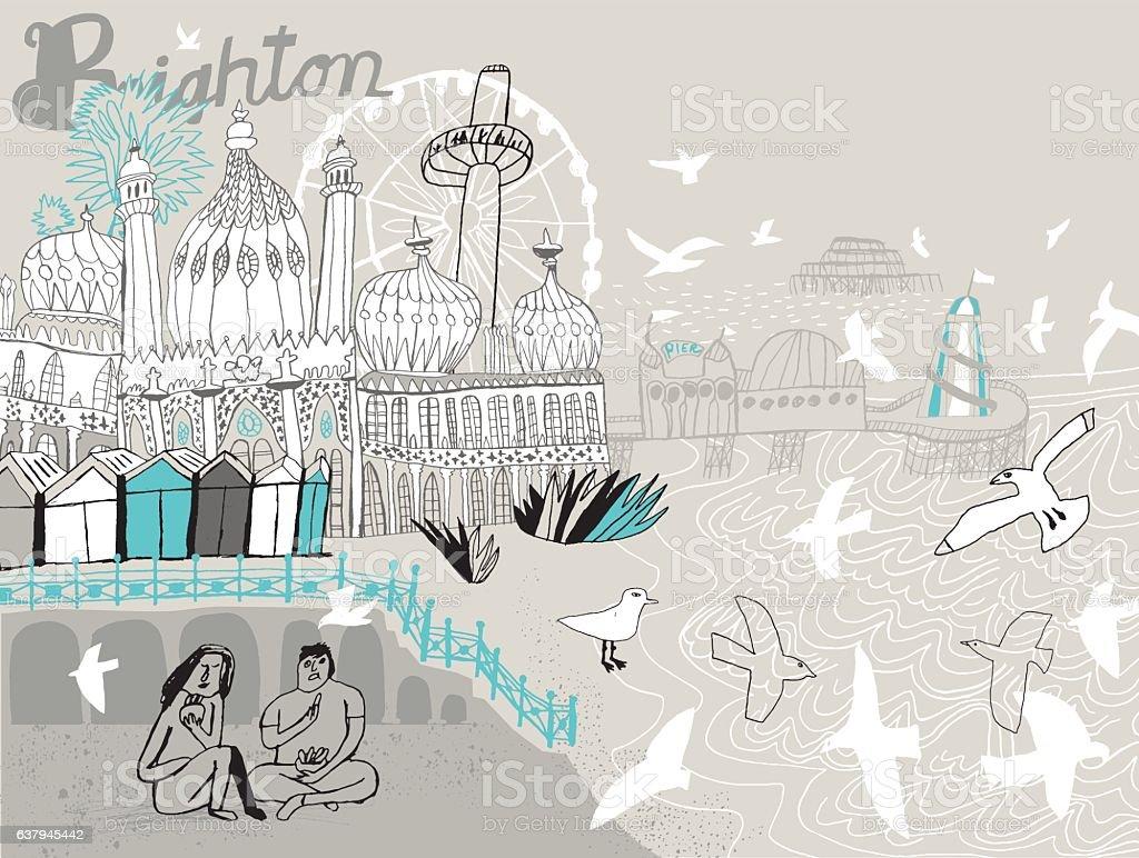 City of Brighton in England UK. Vector illustration vector art illustration