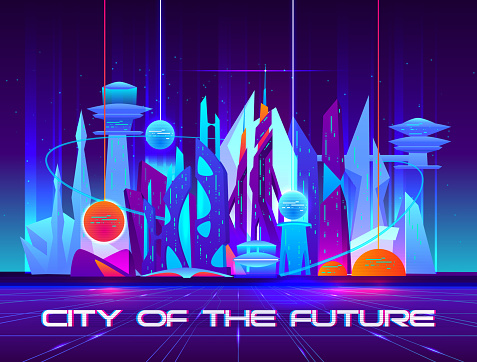 City of future at night with vibrant neon lights and shining spheres. Urban landscape, Futuristic metropolis with glowing buildings and skyscrapers. Cartoon vector illustration.