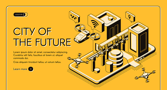 City of future isometric vector web banner