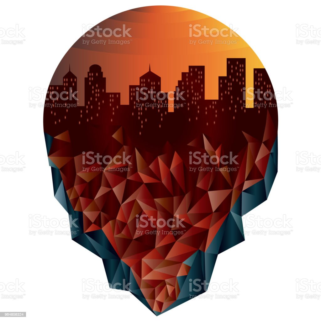 City of iceberg in red orange tones. royalty-free city of iceberg in red orange tones stock illustration - download image now