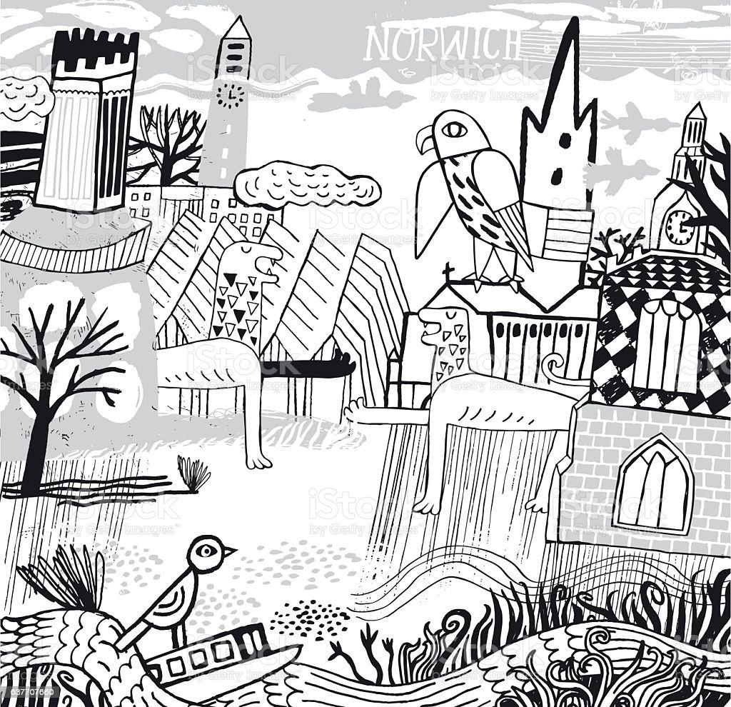 City of Norwich in Norfolk vector art illustration