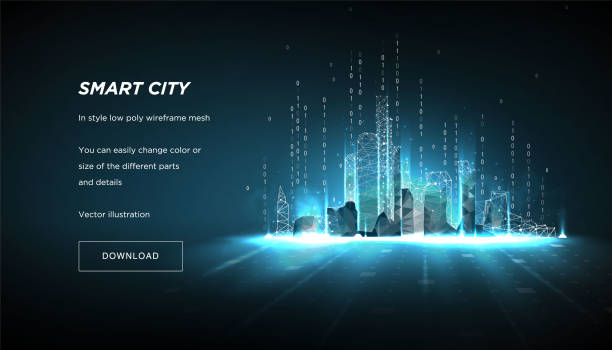ilustrações de stock, clip art, desenhos animados e ícones de city of the abstract low poly wireframe on dark background.concept of smart cityand flow binary code.plexus lines and points in the constellation.polygonal particles.vector 3d - smart city