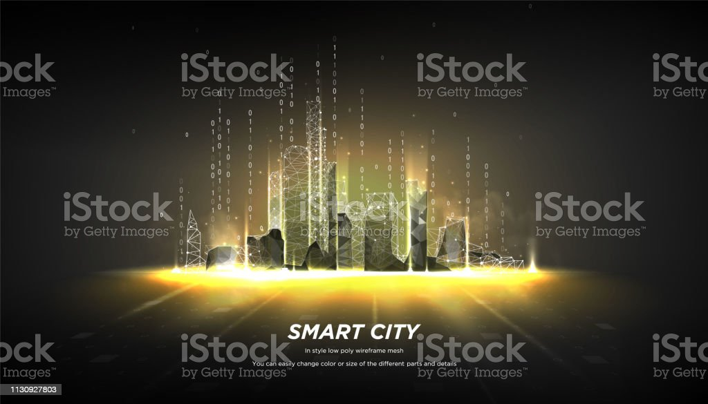 City Of The Abstract Low Poly Wireframe On Dark Backgroundconcept Of