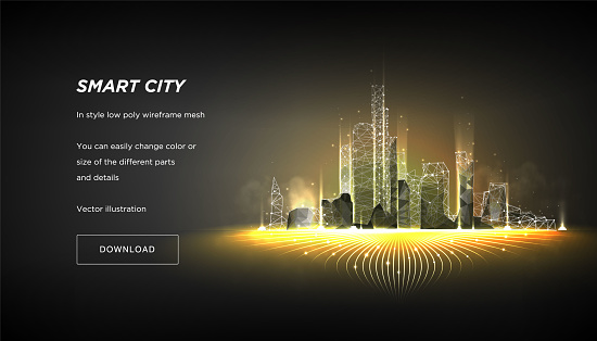 City of the Abstract low poly wireframe on dark background.Concept of smart cityand flow binary code.Plexus lines and points in the constellation.Polygonal particles.Vector 3d clipart