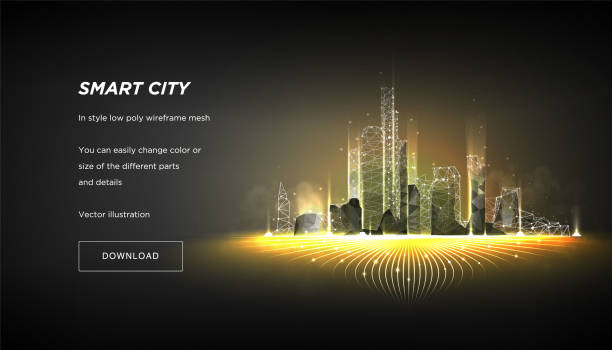 City of the Abstract low poly wireframe on dark background.Concept of smart cityand flow binary code.Plexus lines and points in the constellation.Polygonal particles.Vector 3d City of the Abstract low poly wireframe on dark background.Concept of smart cityand flow binary code.Plexus lines and points in the constellation.Polygonal particles.Vector 3d smart city stock illustrations
