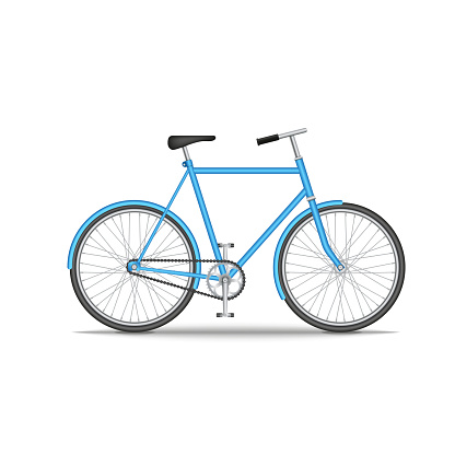 City old bike isolated on white background, realistic 3d model vector illustration in blue, environmentally friendly vehicle.