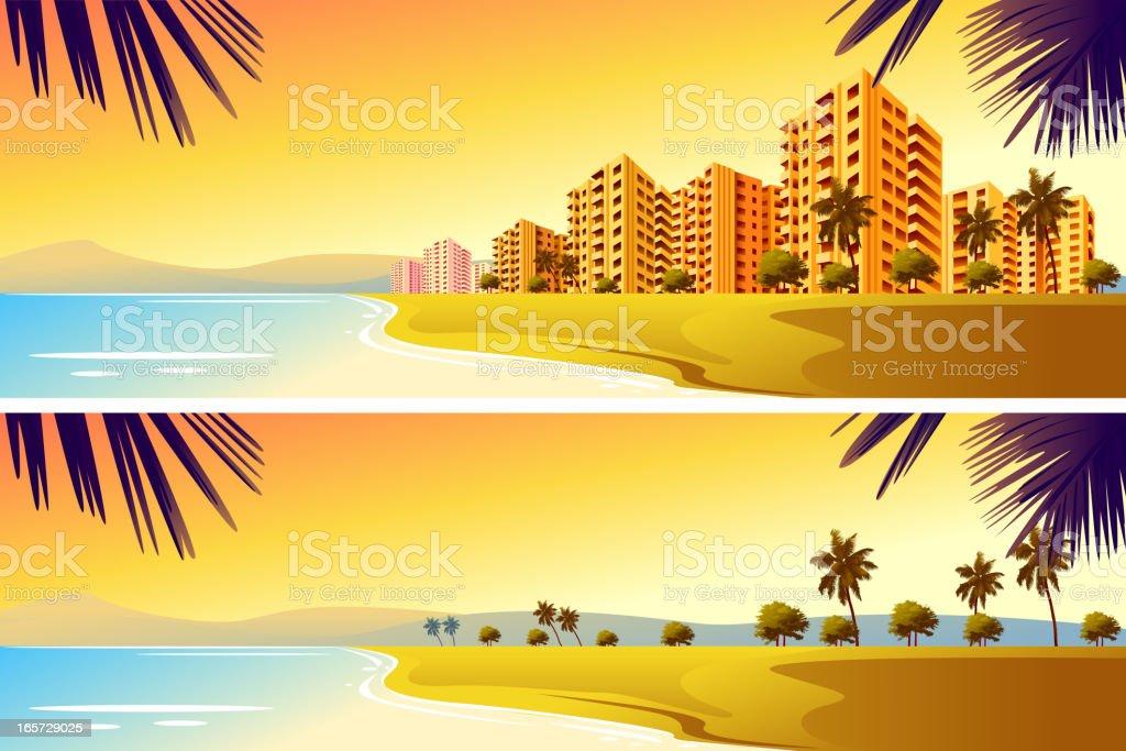 City on Beach vector art illustration