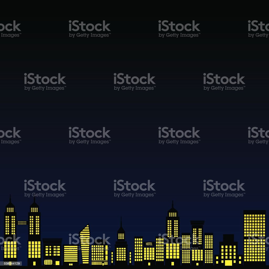 Città Di Media Vettoriale Sfondo Blu Notte Immagini Vettoriali