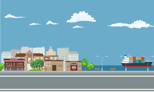 ilustraciones, imágenes clip art, dibujos animados e iconos de stock de ciudad sobre el paisaje costero con carga de la nave en el mar. - suministros escolares