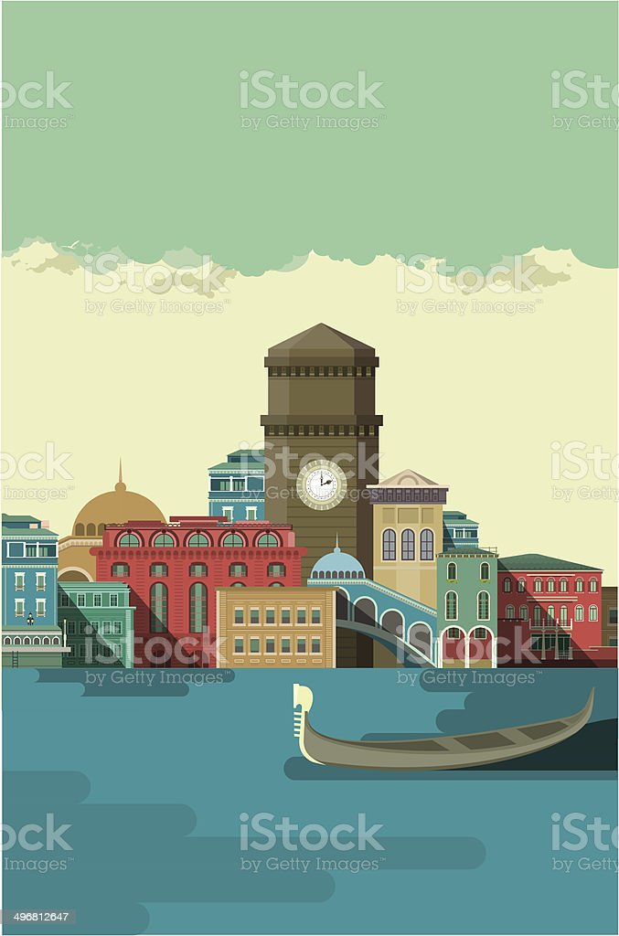 City on the River Bank vector art illustration