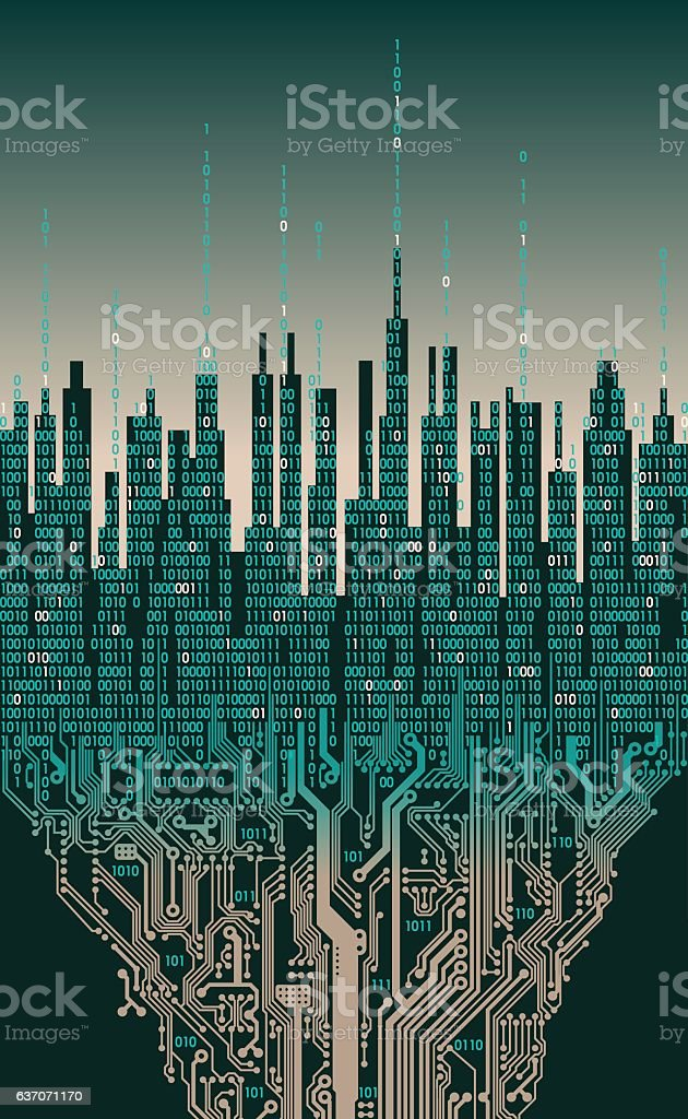 City online. Abstract futuristic digital city, hi-tech informati vector art illustration