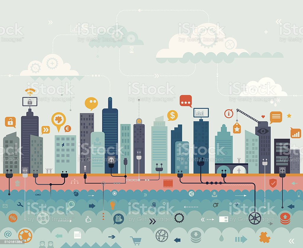 City Online vector art illustration