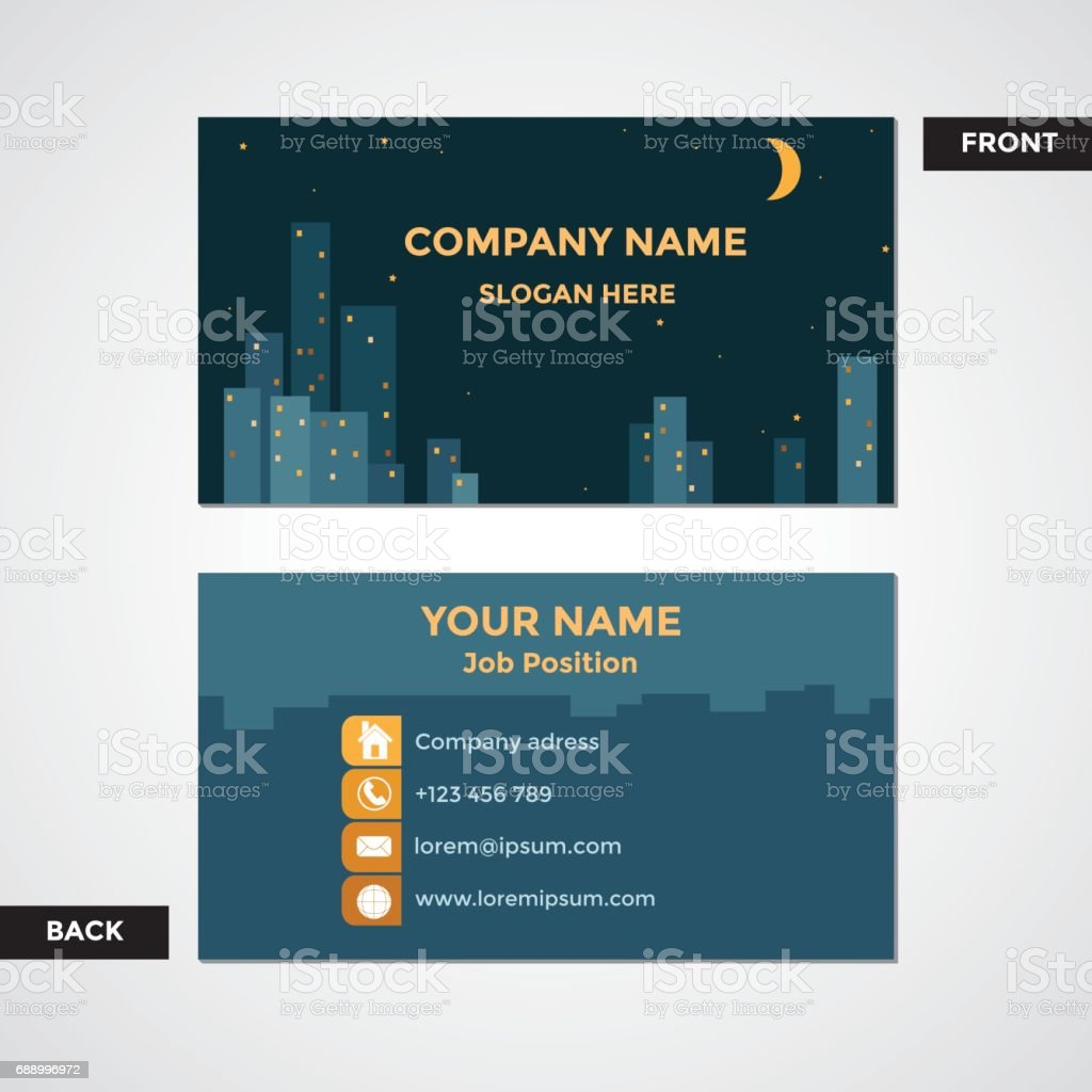 City Or Town Business Card Front And Back View stock vector art ...