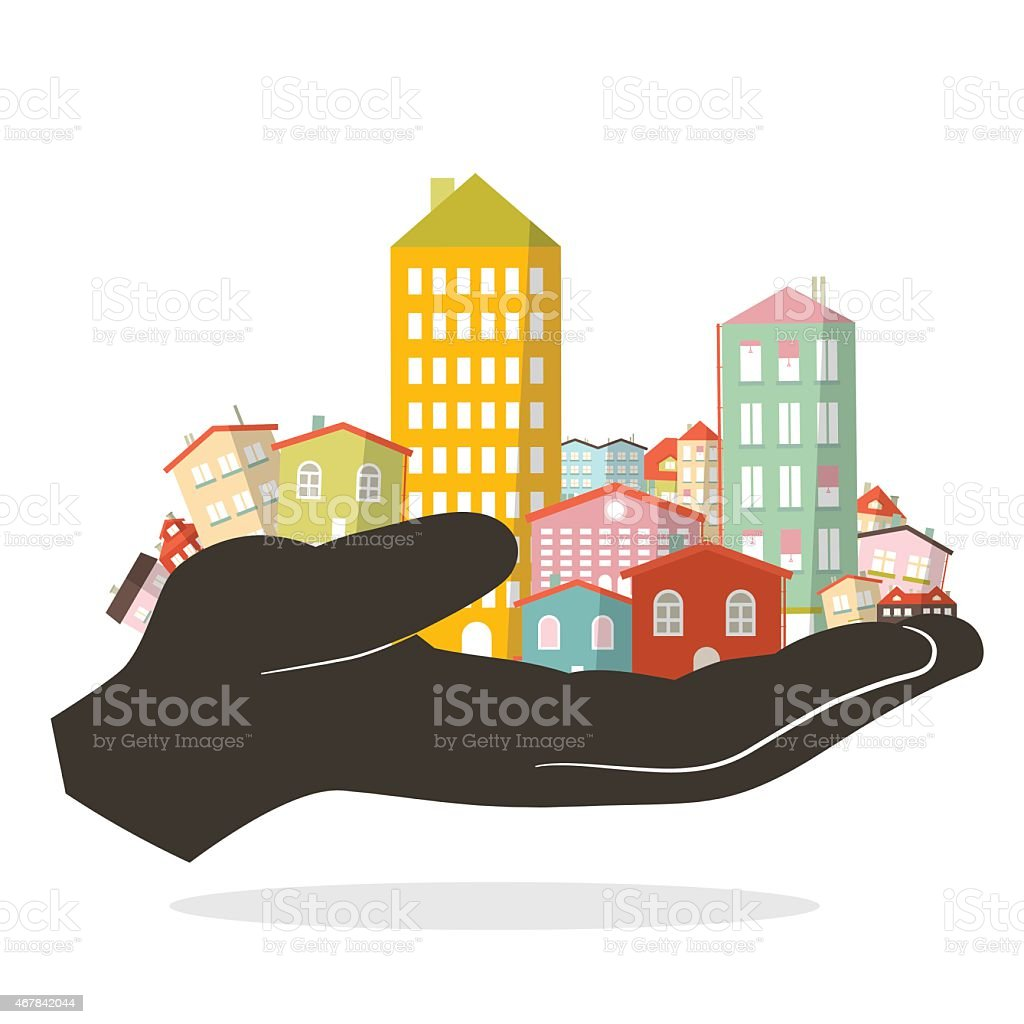City or Town in Human Hand vector art illustration