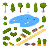 City public park 3d isometric flat icons. Vector urban outdoor landscape design elements. Green garden trees, pond and flower pots, isolated on white background.