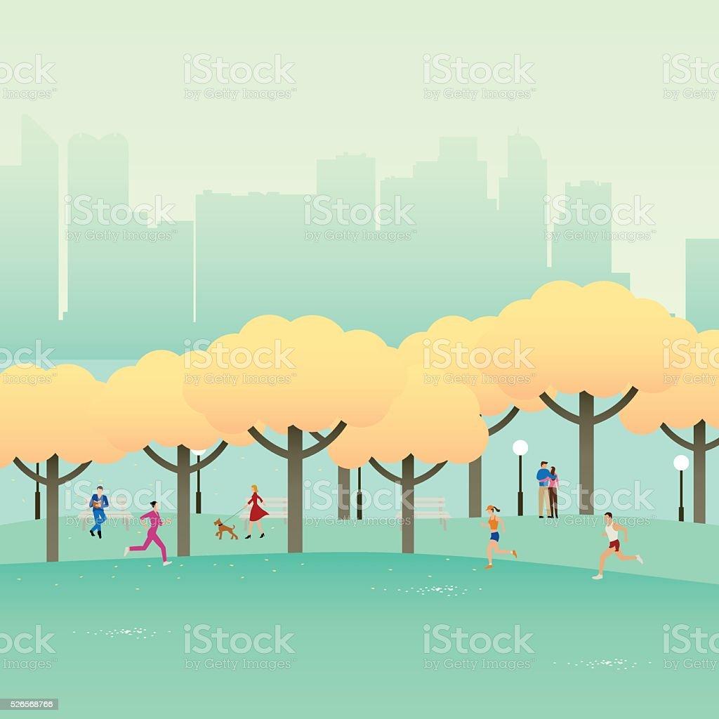 City Park Autumn vector art illustration