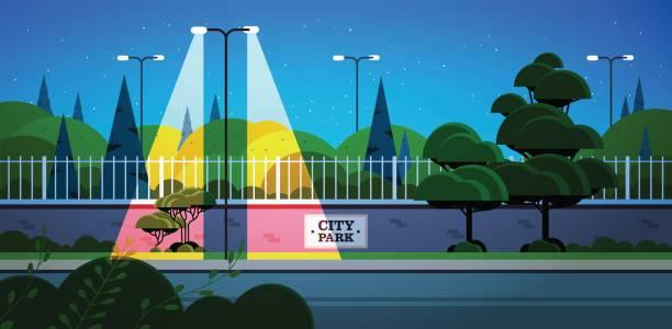 bildbanksillustrationer, clip art samt tecknat material och ikoner med stadsparken banner på staket vacker natt landskap bakgrund horisontellt - gränd