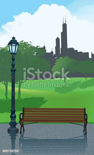 Graphic illustration of a park bench and streetlight in a city park. Check out my