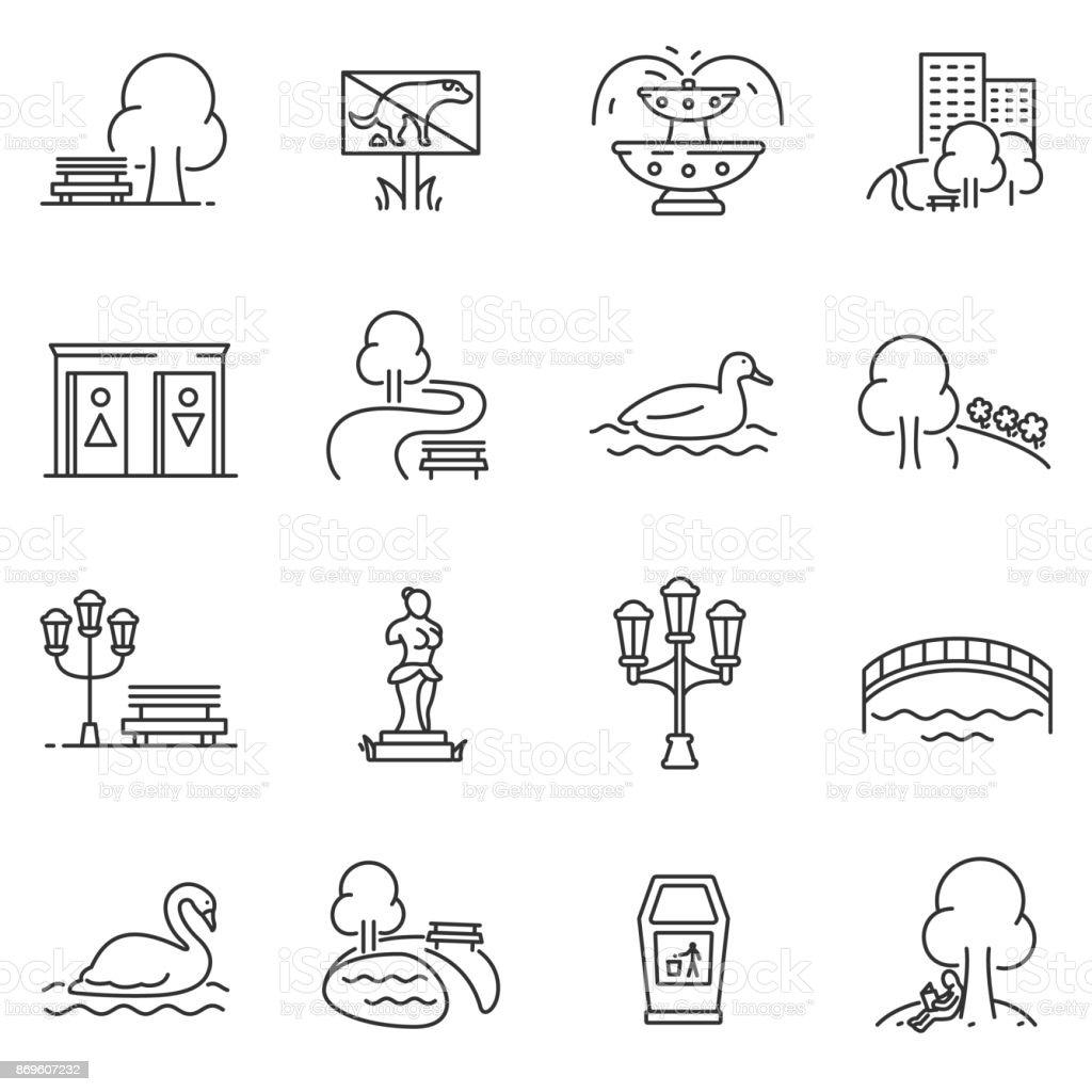 Conjunto de iconos de ciudad parque. Movimiento editable - ilustración de arte vectorial