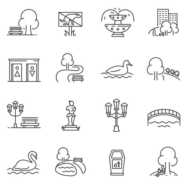City park icons set. Editable stroke City park icons set. The open plot of land for recreation, thin line design. isolated symbols collection water bird stock illustrations