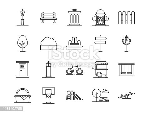 Set of city park element icon. Outline style icons