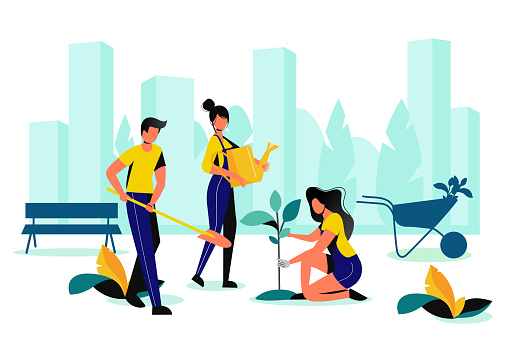 City park landscaping. Spring, summer outdoor works. Team of volunteer planting in town garden. Vector flat illustration