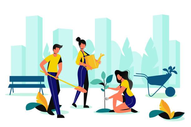 ilustrações de stock, clip art, desenhos animados e ícones de city park landscaping. spring, summer outdoor works. team of volunteer planting in town garden. vector flat illustration - plantar