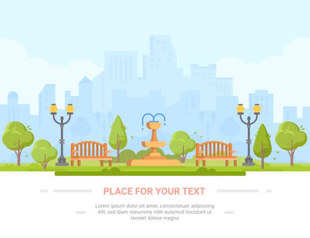 bildbanksillustrationer, clip art samt tecknat material och ikoner med stadsparken - moderna vektorillustration med plats för text - naturparksområde