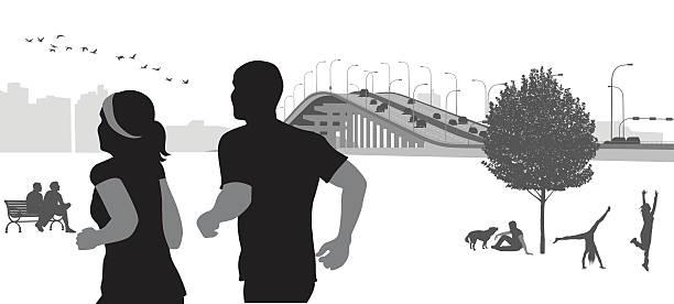 ilustrações de stock, clip art, desenhos animados e ícones de city park morning jog - young woman running city