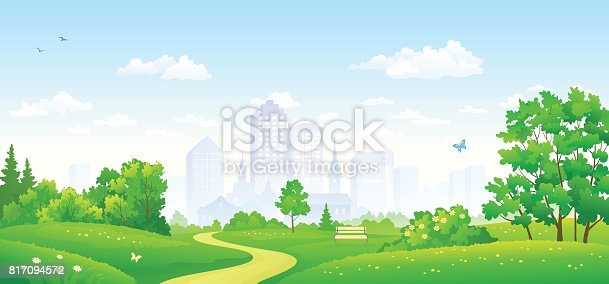 Vector illustration of a summer city park panorama, panoramic banner