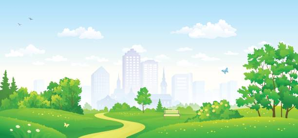 City park panorama Vector illustration of a summer city park panorama, panoramic banner backgrounds clipart stock illustrations