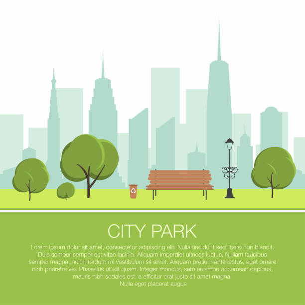 City park scene. Trees, wooden bench with urn and lantern. City silhouette with skyscrapers on background City park scene. Trees, wooden bench with urn and lantern. City silhouette with skyscrapers on background. Vector urban gardening stock illustrations