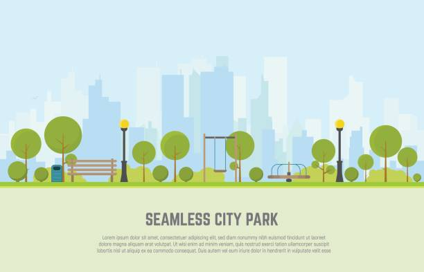 City park seamless background Seamless city park bench, lawn and trees, trash can, swings and carousels. Flat style vector. On background business city center with skyscrapers. Green park vegetation in center of big town. cityscape stock illustrations