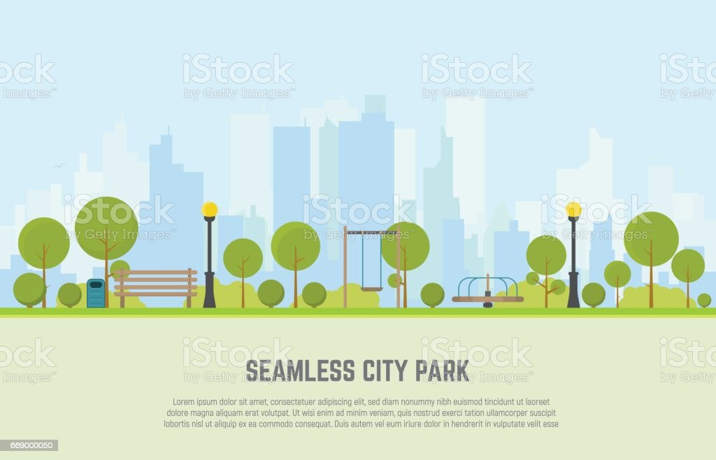 City park seamless background vector art illustration