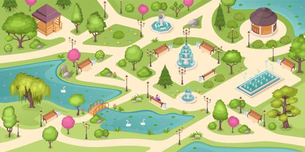 park miejski lato, izometryczne tło wektorowe z drzewami, trawnikami i fontannami. pusty miejski park miejski, ludzie siedzący na ławce, pawilony altanki, kwietniki i łabędzie w stawie z mostem - staw woda stojąca stock illustrations