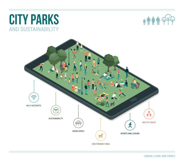 City park, sustainability and technology City park, sustainability and technology infographic: people relaxing together and gathering in the park on a digital touch screen tablet augmented reality sustainable stock illustrations