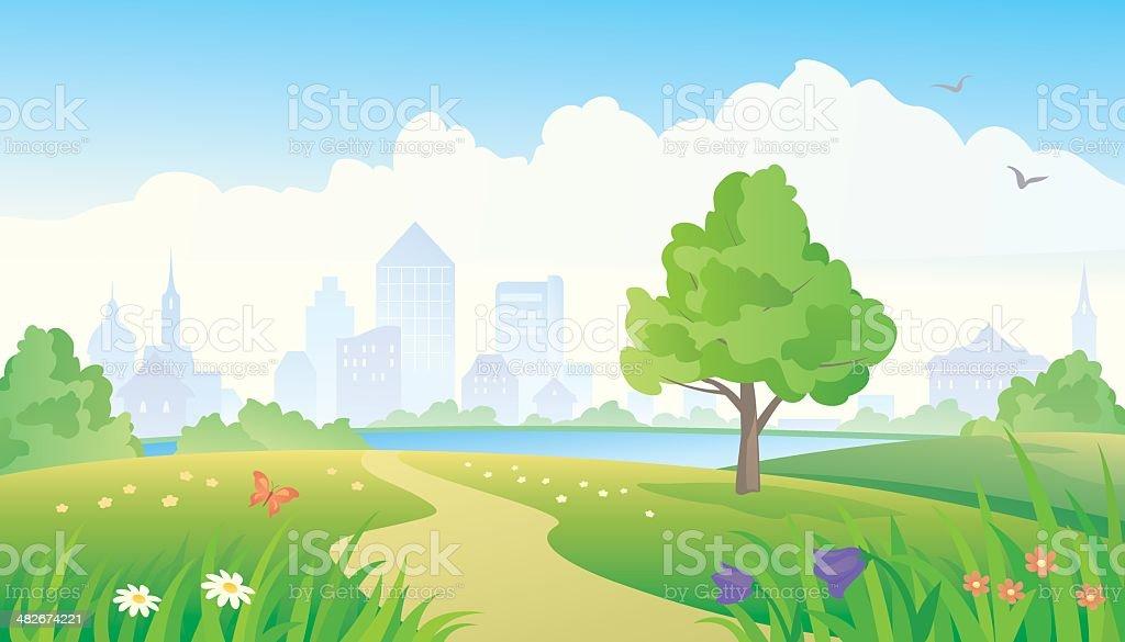 City park vector art illustration