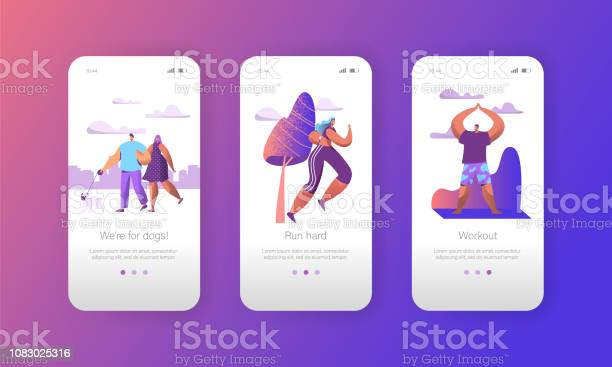 City park weekend activity mobile app page onboard screen set yoga vector id1083025316?b=1&k=6&m=1083025316&s=612x612&h=0abj5pwls3oopsmhnzz cqi wicqz7recsualsfxcb8=