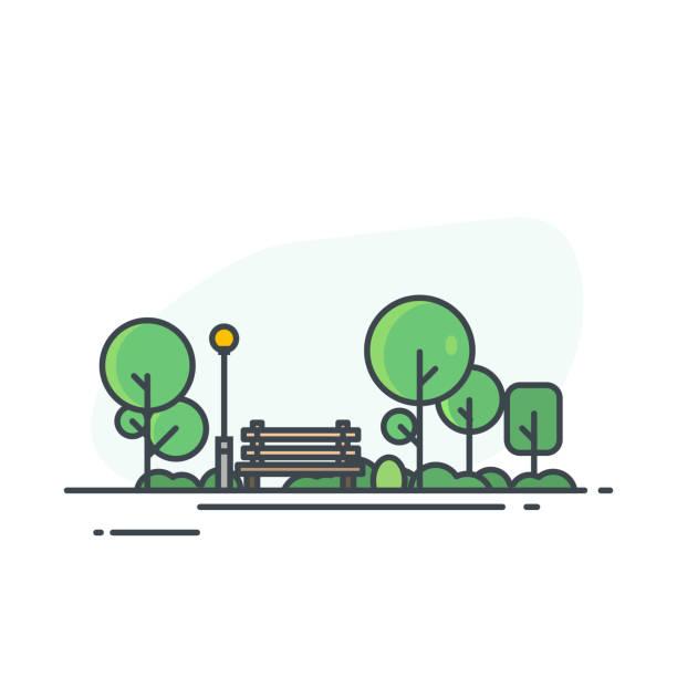stockillustraties, clipart, cartoons en iconen met stadspark met bankje - stadsplein