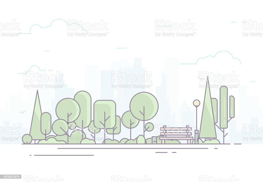 City park with bench - Grafika wektorowa royalty-free (Baner)