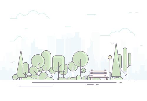 City Park With Bench - Stockowe grafiki wektorowe i więcej obrazów Baner