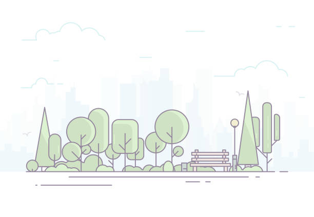 city park with bench - otwarta przestrzeń ustawienia stock illustrations
