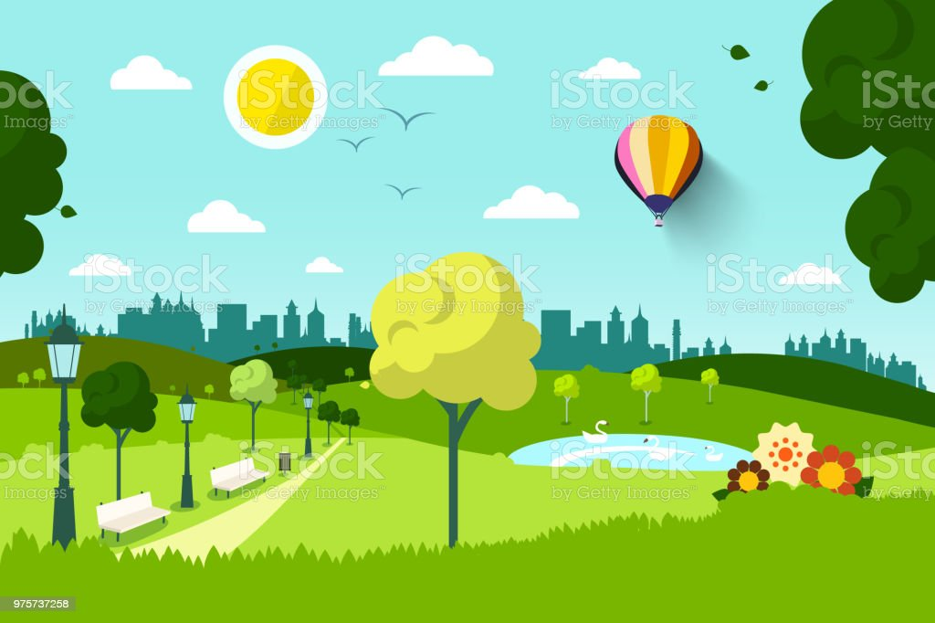 City Park with Flowers and Trees vector art illustration