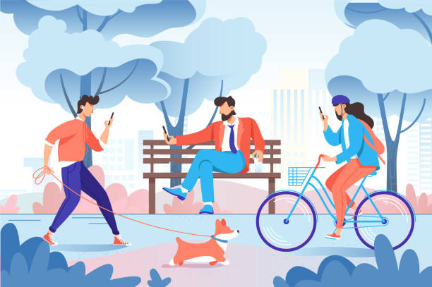 illustrazioni stock, clip art, cartoni animati e icone di tendenza di city park with relax people with cellphone, dog on bench, bicycle. - city walking background