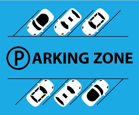 City parking lot illustration vector web banner. Public car-park. Flat style. Shortage parking spaces