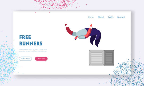 City Parkour Website Landing Page. Young Man Jumping from Walls over Head, Urban Culture, Extreme Sport, Active Lifestyle, Teenagers Street Fashion, Web Page. Cartoon Flat Vector Illustration, Banner vector art illustration