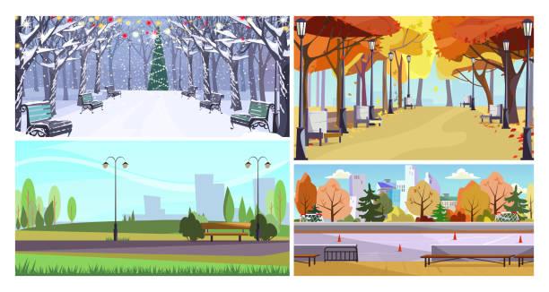 bildbanksillustrationer, clip art samt tecknat material och ikoner med stadsparker platt vektor illustration set - gränd