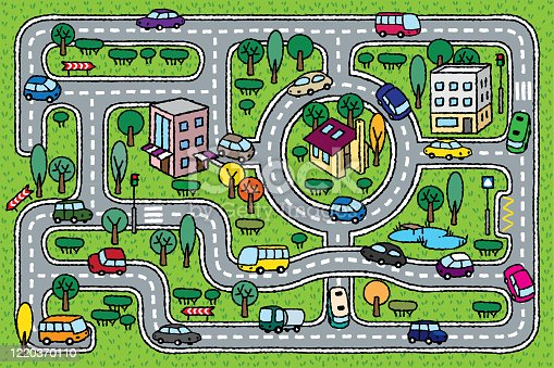 istock City pattern. Roads, cars, grass areas background 1220370110